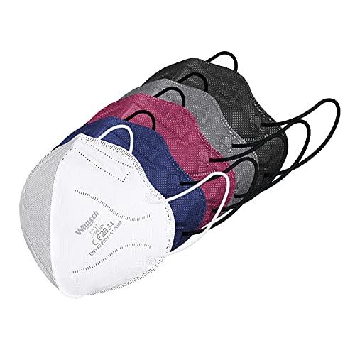 Wawech 20 bunte FFP2 Maske CE Zertifiziert, 5 farbige Mund und Nasenschutz einweg Atemschutzmaske...