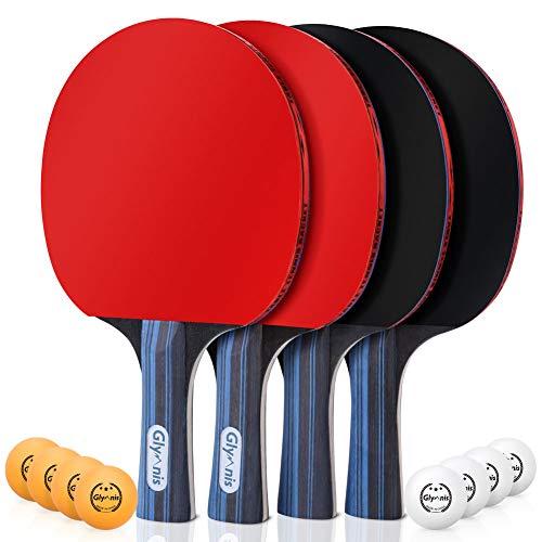 Glymnis Tischtennisschläger Set Tischtennis Set 4 Schläger 8 Bälle mit 2 Nylontasche