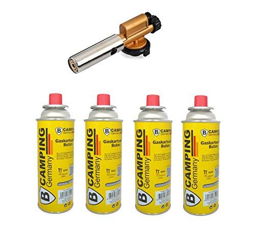 Beste Angebote Gasbrenner + 4 Gaskartusche, Lötbrenner Bunsenbrenner Lötlampe Brenner + 4xGas...