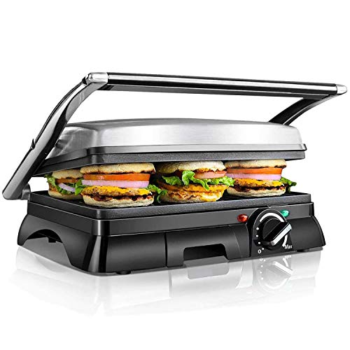 Kontaktgrill,XXL Low Fat Grill,Sandwich Maker,Steak Grill 2000 Watt, antihaft beschichtetes Edelstahl, 180...
