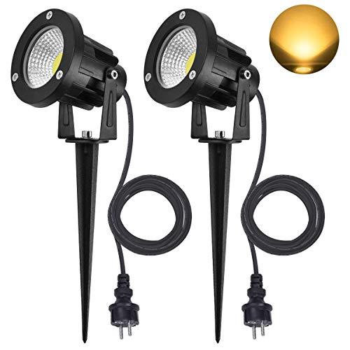 SanGlory 2er Set 7W LED Strahler Warmweiß 3000K mit Erdspieß, 2m Kabel mit Stecker, Led Garten Beleuchtung,...
