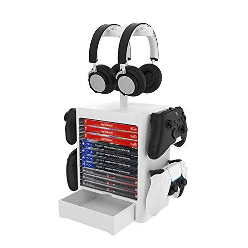 ZRXRY PS5-Spielspeicherung, Spieler-Spielsturm für PS5, Game Disk Rack und Controller/Headset Standhalter...