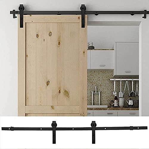AllRight Schiebetürbeschlag Holz Glasschiebetür Komplettset Schwarz Edelstahl Laufschiene Pfeilförmig 183cm...