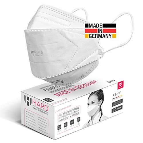 HARD 20 Stück FFP2 Atemschutzmaske, Made in Germany EN 149:2001+A:2009 zertifizierte Maske filtert 99,5%,...