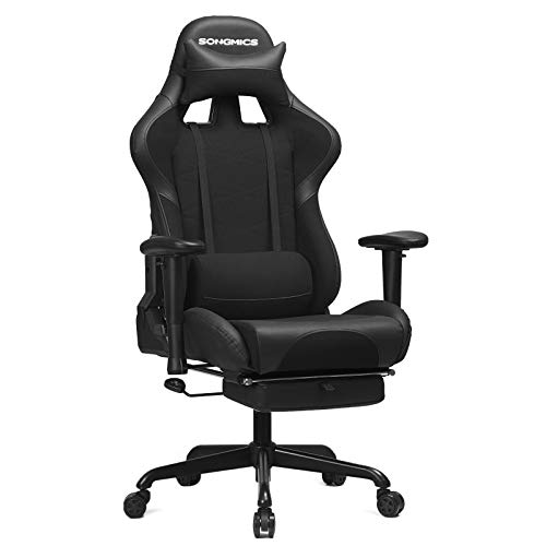SONGMICS Gaming Stuhl mit Fußstütze, 150 kg, Bürostuhl, Schreibtischstuhl, Lendenkissen, Kopfkissen, hohe...