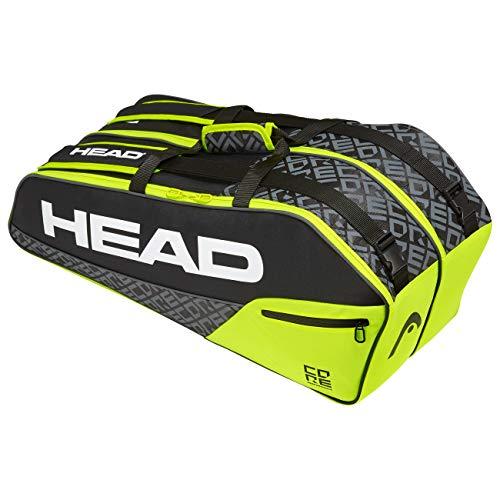 HEAD Unisex-Erwachsene Core 6R Combi Tennistasche, Black/neon Yellow, Einheitsgröße