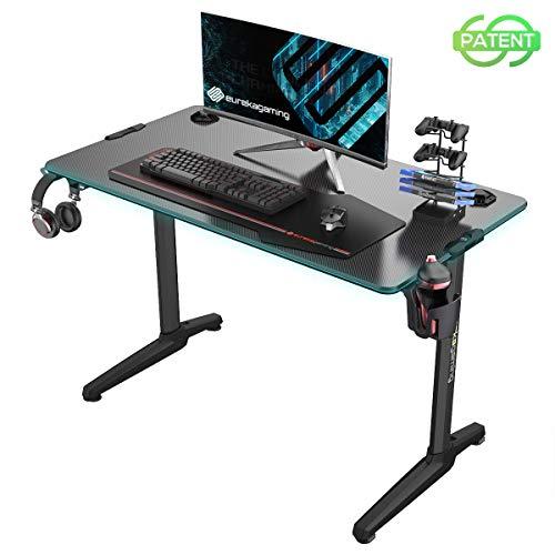 EUREKA ERGONOMIC Gaming Tisch mit LED P44 Gaming Schreibtisch mit RGB Beleuchtung PC Tisch Gaming Gamer Tisch...