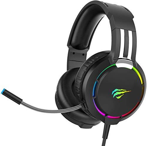 havit Headset für PS4, RGB Gaming Headset für PC, PS5, Xbox One, Laptop, Kopfhörer mit Mikrofon, mit...