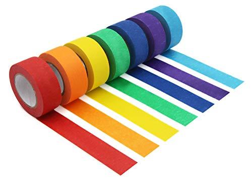 Foryee Buntes Abdeckband, Malerkrepp, dekorativ, farbiges Klebeband, fr Kunst und Handwerk, Beschriftung oder...