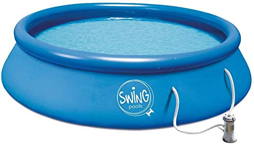 well2wellness® Quick-Up Pool Aufstellbecken Swing Ø 366 x 91cm blau inkl. Filterpumpe 230 Volt
