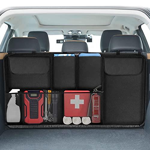 EZILIF Kofferraum Organizer Auto, Großen Sitztasche Kofferraumtasche mit Elastische Schnallen und Klett, Auto...