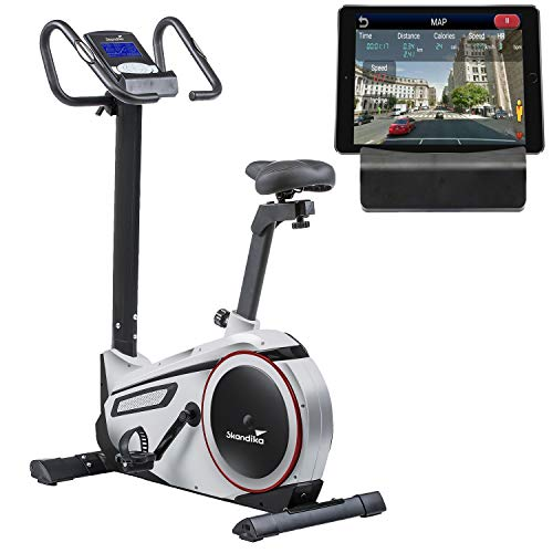 skandika Ergometer Morpheus, Fitnessbike, Heimtrainer mit Steuerung und Street View Funktion, Pulsgurt, 32...