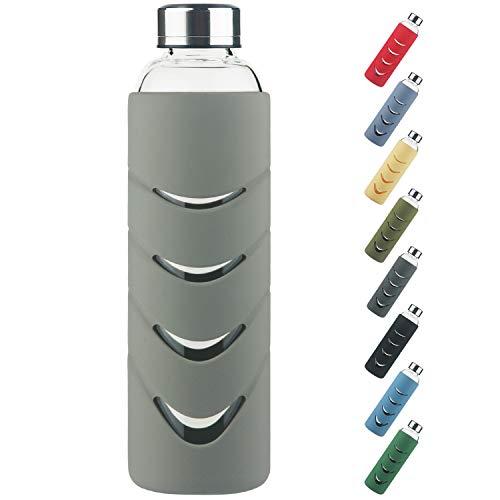 Sport Trinkflasche glas - 500 ml / 1l BPA-freie Borosilikatglas Wasserflasche mit Auslaufsicherem Deckel und...