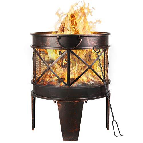 femor feuerschale Ø42cm mit Griffen, Feuerschale in Antik-Rost-Optik, Garten Feuerstelle, Metall Feuerkorb...