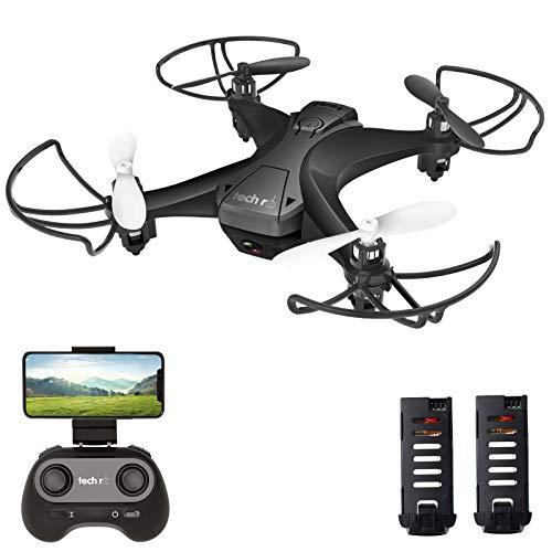tech rc Drohne mit Kamera HD FPV RC Mini Drone mit 2 Akkus 2.4Ghz Ferngesteuerte Quadrocopter Anfänger APP...