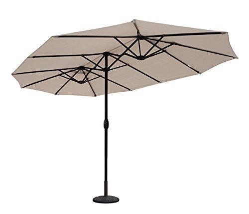 Sekey® 270 × 460 cm Aluminium Doppelsonnenschirm Marktschirm Gartenschirm Terrassenschirm Sonnenschutz UV50+...