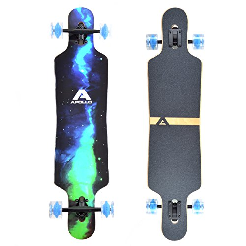 Apollo Longboard Galaxy Special Edition Komplettboard mit High Speed ABEC Kugellagern, Drop Through Freeride...
