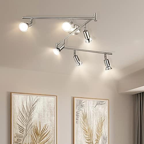 Wowatt LED Strahler Deckenleuchte 6 Flammig Inkl. 6x 6W Spots GU10 Warmweiß 2800K Schwenkbar Deckenstrahler...