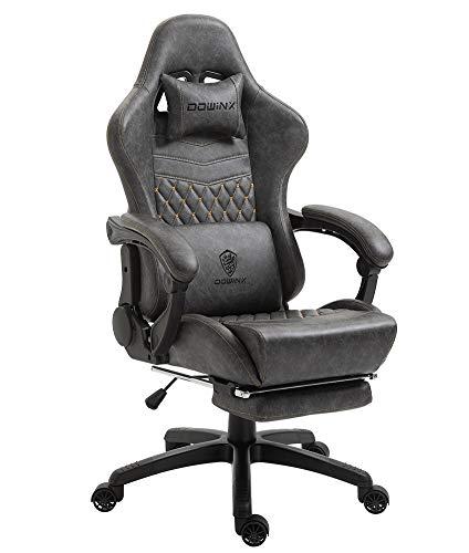 Dowinx Gaming Stuhl Bürostuhl Ergonomischer PC-Stuhl mit Massage Lendenwirbelstütze, Vorteil Stil PU Leder...