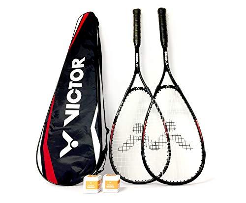 VICTOR Squashset: 2X Squashschläger Magan Core Black Deluxe Edition + 2 Squashbälle + 1 Schlägertasche;...
