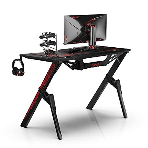 Dripex Ergonomischer Gaming Tisch, Schreibtisch Gaming mit Großer Oberfläche, Kohlefaser-Desktop, mit...