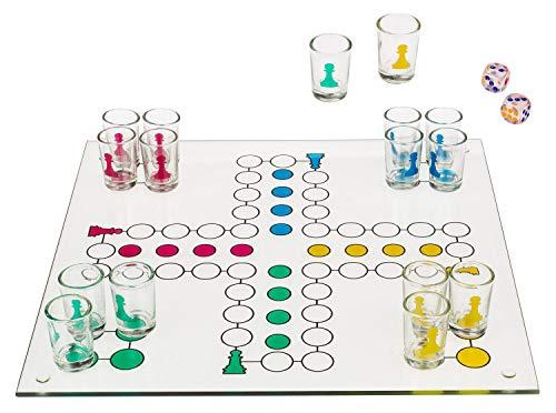 Out of the Blue Trinkspiel Ludo, mit 16 Gläsern und 2 Würfeln, ca. 31 x 31 cm