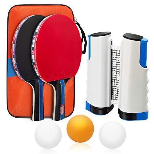Baozun Tischtennisschläger Tischtennis Set mit 2 Schläger und 3 Bällen, 1 Tasche Tischtennis-Schläger