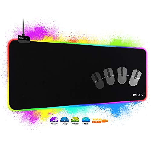 RGB Mauspad XXL Gaming Mauspad - RGB Gaming Mousepad 800x300 mm mit 14 Beleuchtungs Modi, Groß RGB Mousepad...