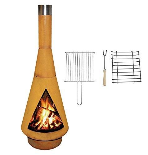 YERD Corten Terrassen-Ofen/Grill-Kamin Denver BBQ: Echter Corten-Stahl Gartenkamin (Edelrost), inkl....
