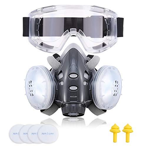 NASUM Halb Gesicht Abdeckung Wiederverwendbare, Serie Grau 308, mit Schutzbrille, Ohrstöpsel *1 Paar,...