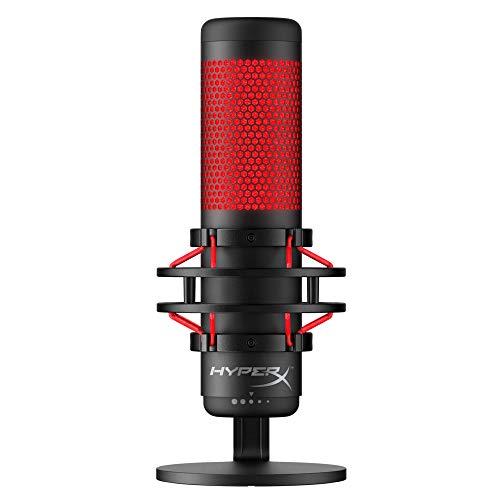 HyperX HX-MICQC-BK QuadCast - Standalone Mikrofon mit umfangreichen Funktionen für Streamer Gamer
