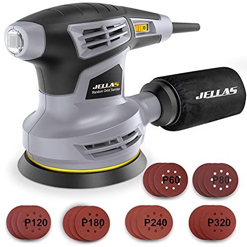 Jellas Exzenterschleifer mit Absaugung, Staubfangbehälter, staubgeschütztem Schalter & Getriebegehäuse –...