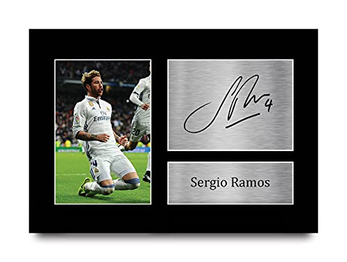 HWC Trading Sergio Ramos A4 Ungerahmt Signiert Gedruckt Autogramme Bild Druck-Fotoanzeige Geschenk Für Real...