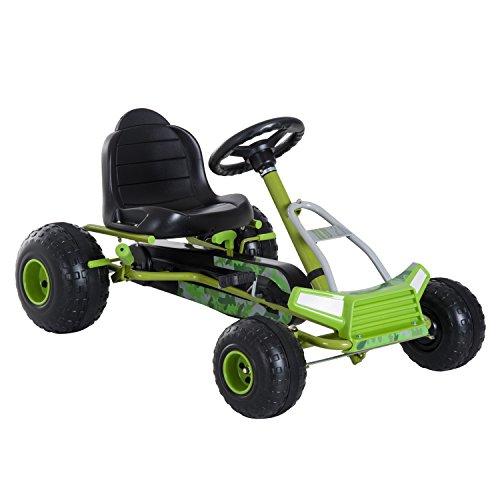HOMCOM Kinder Go Kart Pedalfahrzeug Tretauto mit Handbremse 3-6 Jahre Grün 95 x 66,5 x 57cm