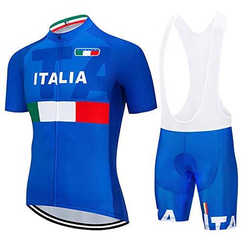 SUHINFE Fahrrad Bekleidung Trockend Stoff mit Radlerhose mit Sitzpolster für Fahrrad Rennrad MTB, ITA-Blue,...