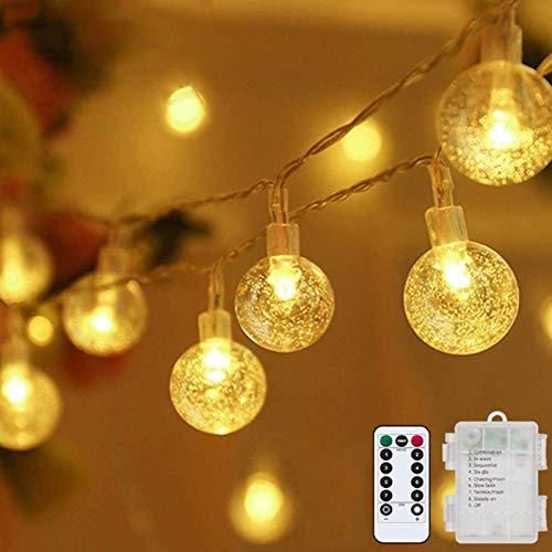 Lichterkette LED Lichterkette Warmweiß 5m 50LED Kristall Kugeln Lichterkette Batterie mit Fernbedienung 8...