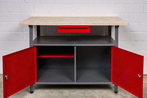 Kreher Werkbank aus Metall. Mit zwei abschließbaren Türen, Schublade und Gewinde Füßen. Solide 30 mm...