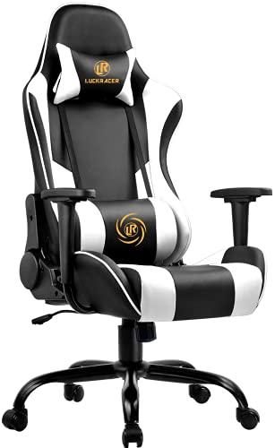 LUCKRACER Gaming Stuhl Bürostuhl Gamer Ergonomischer Stuhl die erneuerten befestigten stabileren Armlehnen...
