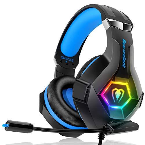 Gaming Headset für PC PS4 Xbox One, 7 Farbe RGB-LED Licht, Surround Sound Gaming Kopfhörer mit Mikrofon für...