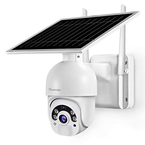 Panamalar 14400mAh Überwachungskamera mit Solarpanel, 1080P WLAN Outdoor Kamera mit H355 ° V100 °...