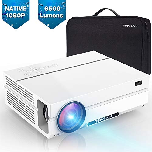 TOPVISION Heimkino Beamer, 6500 Lumen Video Projektor with 80.000 Stunden Verlängert, Native 1080P LCD Beamer...