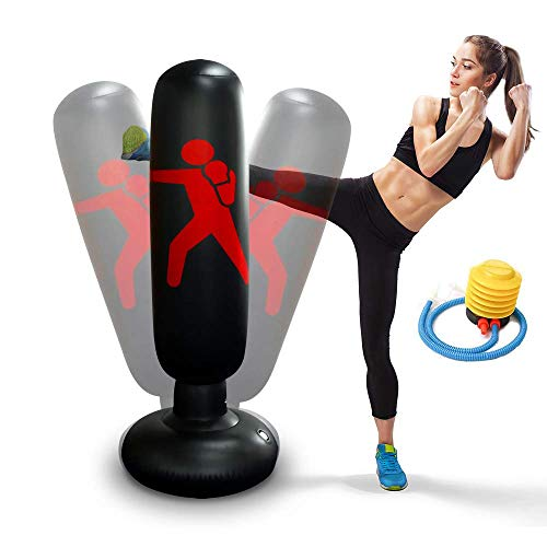 Aufblasbarer Boxsack 160 cm Standboxsack für Kinder Erwachsene Standboxsäcke Trainingsgeräte für Üben...