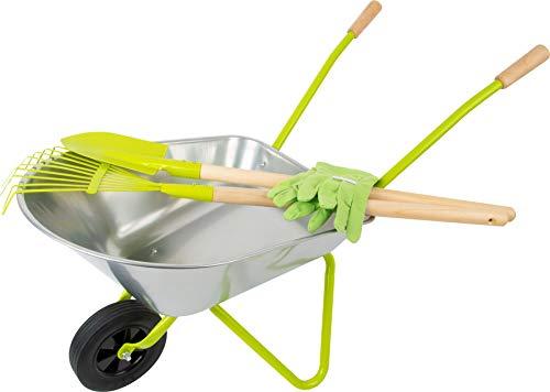small foot 11627 Schubkarre mit Gartenwerkzeug inkl. Handschuhen, Spaten und Rechen, Outdoor-Spielzeug für...