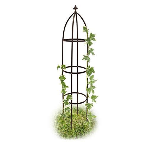 Relaxdays Rankhilfe Obelisk Metall 190 cm, Ranksäule witterungsbeständig freistehend f. Kletterpflanzen u....