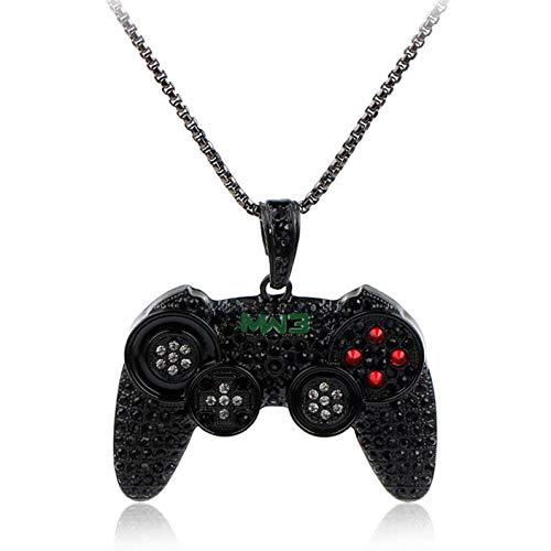 YuzhouGJ Hip Hop Vereist aus Game Controller Joystick Anhänger mit Kette Hip Hop Halskette - Schwarz
