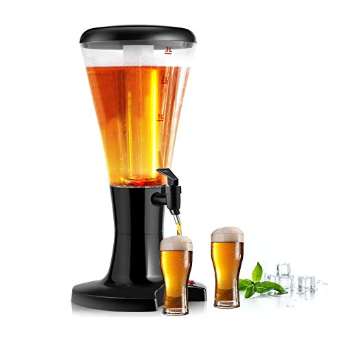 COSTWAY 3L Biersäule mit Eiskühlung, Biertower mit LED-Licht, Bierspender, Getränkespender mit Zapfhahn,...