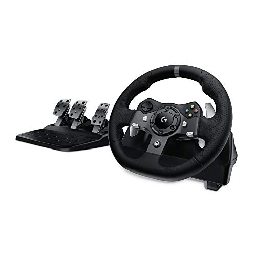 Logitech G920 Driving Force Gaming Rennlenkrad, Zweimotorig Force Feedback, 900° Lenkbereich, Leder-Lenkrad,...