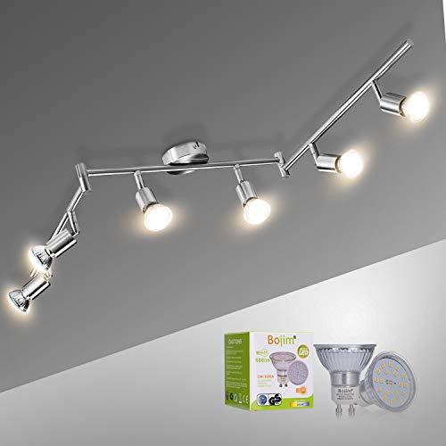 Bojim Deckenstrahler warmweiss Inkl. GU10 6x 6W Leuchtmittel silber Deckenlampe LED 6 flammig einstellbar...