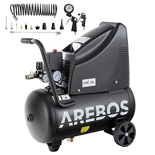 Arebos Druckluftkompressor | Kompressor | ölfrei | 1100W | 24 L | 8 bar | Ansaugleistung 165 L/min, |...