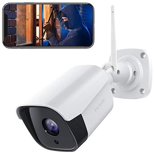 Victure 1080P Metalloberfläche Überwachungskamera Aussen, 2.4Ghz WLAN IP Kamera mit IP66 wasserdichte, Zwei...